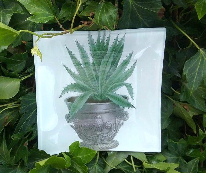 Piatto decorativo quadrato in vetro 30 x 30